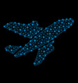 bright mesh wire frame aircraft with light spots vector image vector image