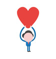 businessman character holding up heart vector image