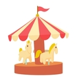 Carousel with horses icon cartoon style vector image