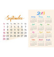 colorful planner 2019 semptember separately vector image vector image