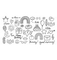 cute doodles different hand drawn icons design vector image