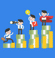 different businessman and super businessman stand vector image