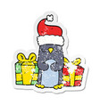 distressed sticker of a cute christmas penguin vector image vector image