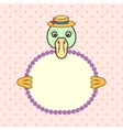 Duck holding banner card in paws Birthday vector image vector image