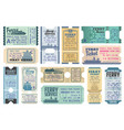 ferry tickets for ocean and sea cruise set vector image vector image