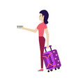 flat woman tourist with travel bag suitcase vector image vector image