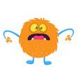funny cartoon orange monster vector image vector image