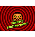 Halloween card with pumpkin and movie ending vector image