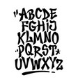 hand lettering graffiti font with decorations vector image vector image