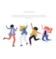 happy dancing people vector image