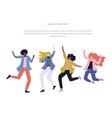 happy dancing people vector image