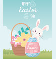 happy easter day rabbit with lettering painted vector image
