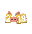 happy new year background pink pig 3d gold sale vector image vector image