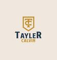 initial tc ct c t monogam emblem logo template vector image vector image