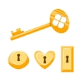 Keys gold cartoon Isolated on vector image