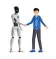 man and robot handshake flat vector image vector image