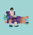 man with kids in the livingroom reading books vector image