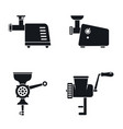 meat grinder machine icon set simple style vector image vector image