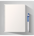 Notebook with white ballpoint pen vector image vector image