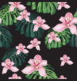 pattern pink orchid flower and tropical leaves vector image vector image
