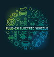 plug-in electric vehicle circular colorful vector image vector image