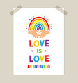 rainbow poster hand-drawn rainbow and heart vector image vector image
