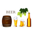 Realistic beer symbols objects set