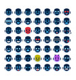 robot face icons set smiling faces different vector image