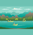 rowing sailing in boats as a sport or form of vector image vector image