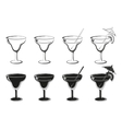Set Glasses Black Contours and Silhouettes vector image