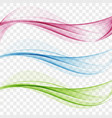 set of abstract transparent waves vector image vector image