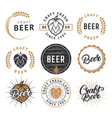 set of vintage craft beer labels badges vector image vector image