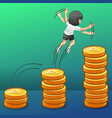 she is jumping into the money growth vector image vector image