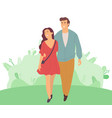 smiling man and woman happy couple on green leaves vector image vector image