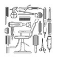 thin line set of hairdresser objects isolated on vector image vector image