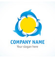 three dolphins in sun logo vector image