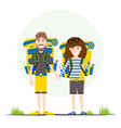 tourists with backpacks isolated on white vector image