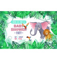 tropical baby shower elephant lion in jungle vector image