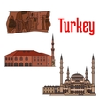 Turkey historic architecture and sightseeings vector image