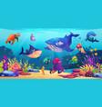 underwater world marine life sea ocean animals vector image