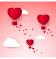 valentines day with paper cut red heart shape air vector image vector image