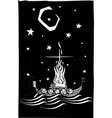 viking funeral at night vector image vector image
