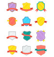 winner shield with ribbon isolated set vector image vector image