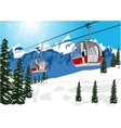 wonderful winter scenery with ski lift cable booth vector image