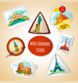 World Landmarks Stickers vector image vector image