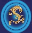 Yellow Dragon on Blue Background vector image