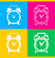 alarm clock sign four styles of icon on four vector image