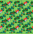 christmas decorative leaves holly and branches vector image