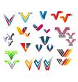 letter v alphabet symbols vector image