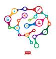 multicolor connection brain with icon creative vector image